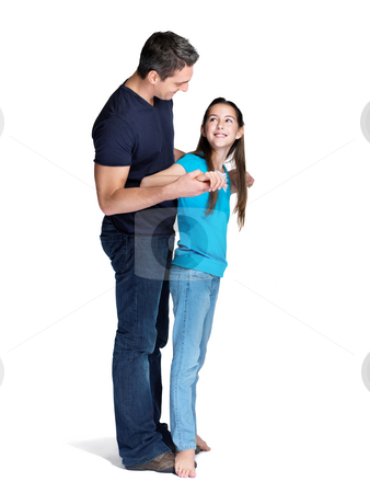 cutcaster-photo-100849653-Cute-little-girl-and-her-father-dancing-together-on-white
