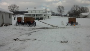 Snowy Amish buggies last winter in Pennsylvania